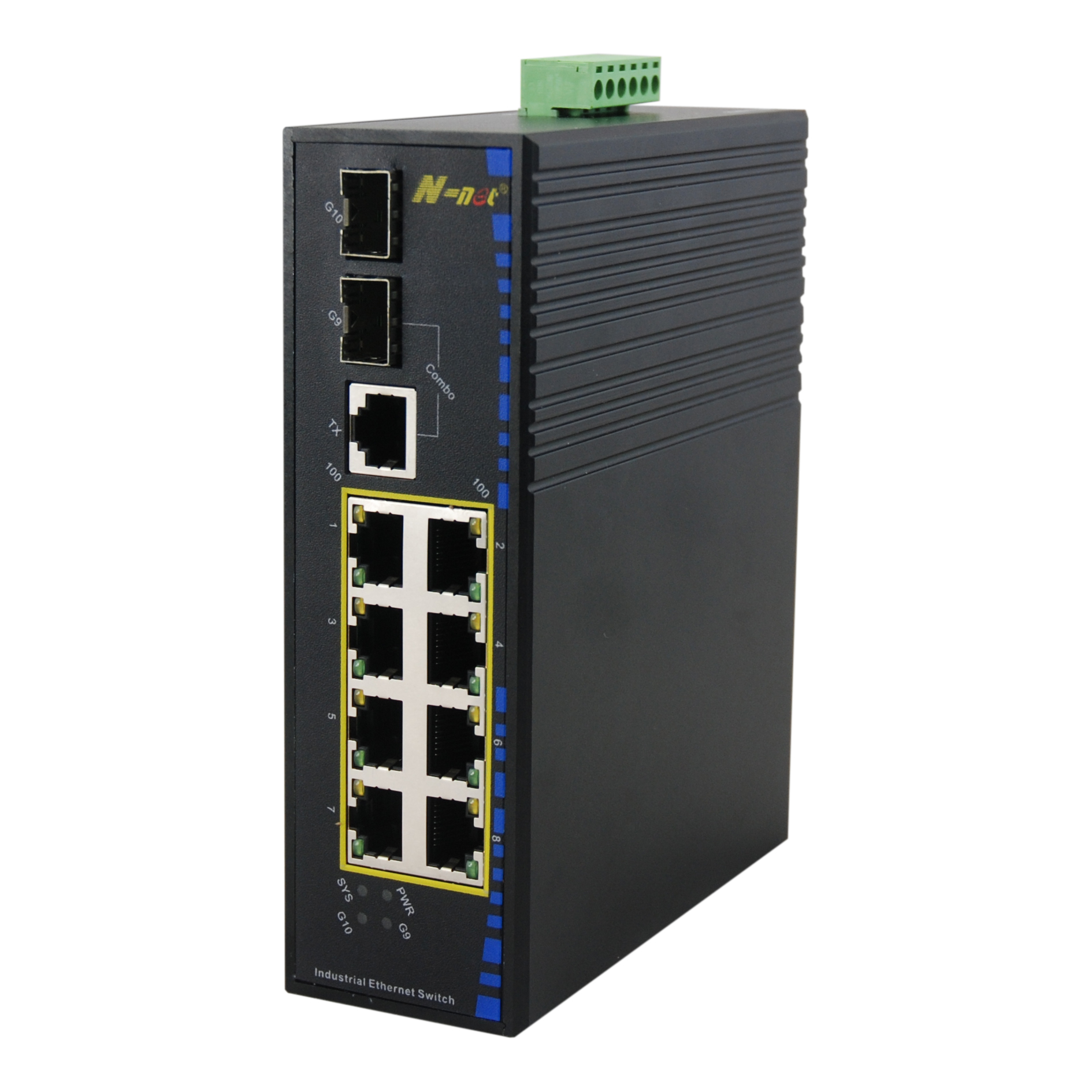 Industrial Unmanaged 8 Ports PoE Fiber Fast Ethernet Switch 8*10/100M TX And 1*1000M Combo + 1*1000M FX