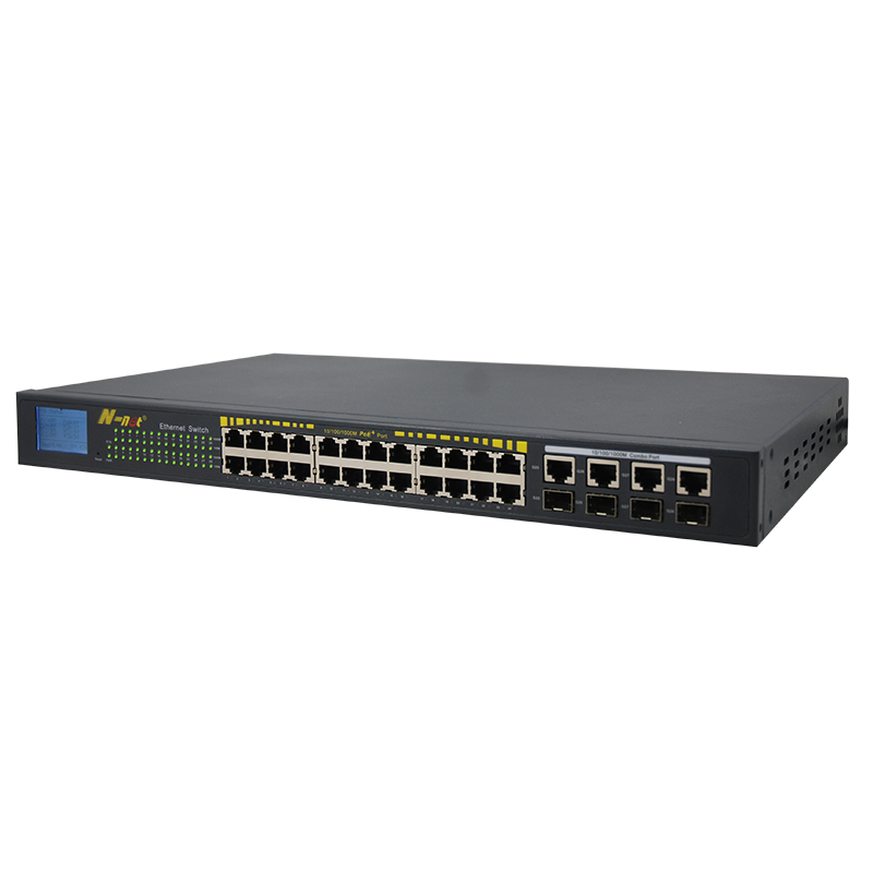 24*1000M PoE Ports + 4*1000M Combo Uplink Ports + LCD Display Unmanaged Switch